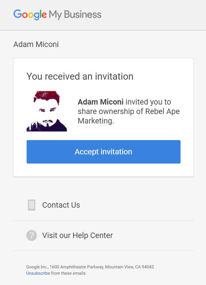 Google My Business Email Invite
